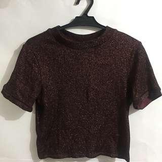 Topshop Metallic Crop Top (Burgundy)