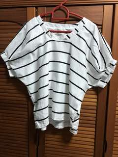Black and White Stripped Loose Top