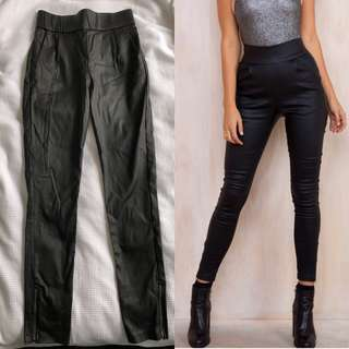 Wet look high-waisted pants