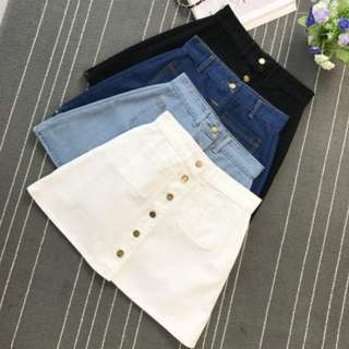 PO: Denim Button Down High Waist Skirt