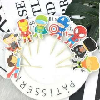 24pcs Superhero Cake / Cupcake Topper Set