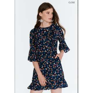YANA PRINTED DRESS IN NAVY from The Closet Lover Size XS *Brand New*