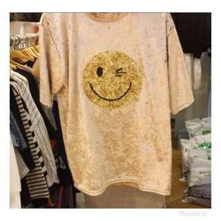 🚚 韓貨 微笑臉絨布上衣