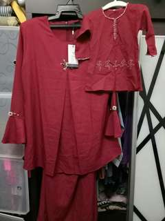 Set baju raya mommy dotty maroon
