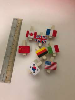 Cute Country Flag Wooden Pegs