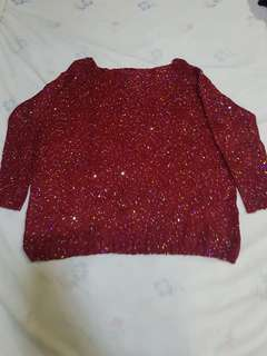 Red Glittery 3/4 Blouse