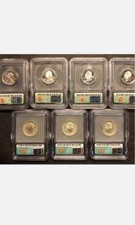 7 pieces ICG PR70 US Statehood Quarters