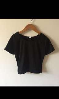 🚚 黑色短版上衣 短袖上衣