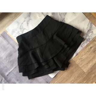 正韓 黑色多層顯瘦短褲
