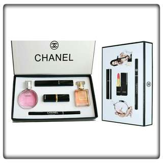 (INSTOCK) CHANEL 5 IN 1 GIFT SET-MAKEUP PERFUME SET BOX IN MASCARA & LIPSTICK