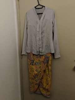 Grey Kebaya with Yellow Batik Skirt