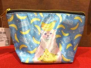 🚚 ECONECO 夢幻北極熊香蕉化妝包隨身收納包