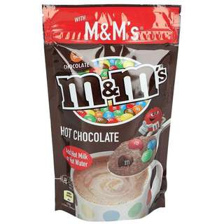M&M's Hot chocolate powdered drink and milk chocolate in a crisp coloured shell
