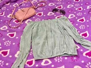 Mint Green Off Shoulder and Crop Top