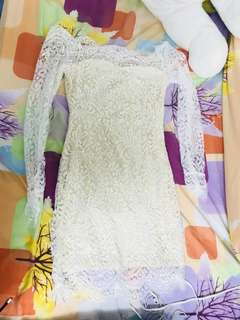 Lace Dress off white , nude