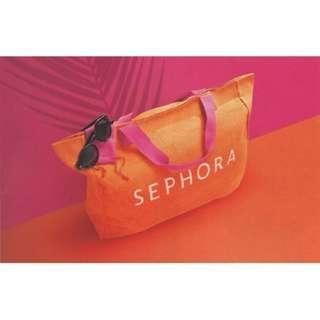 SEPHORA Oversized Orange Canvas Beach Shopping Tote Bag