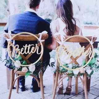 Better Together Wedding Chair Signage Decoration