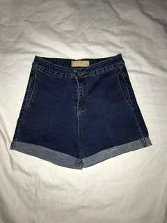 Highwaist Denim Shorts (Dark Blue)