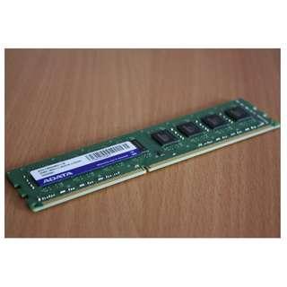 🚚 威剛 ADATA 4GB DDR3 -1600 雙面顆粒 、終身保固 、測試良好的庫存備品、單支價$800
