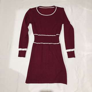 Maroon Bodycon Long sleeves Dress