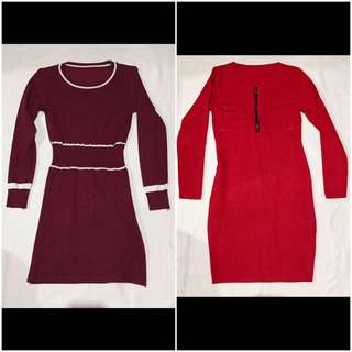Buy 1 get 1 Long sleeves Dress (maroon and red)