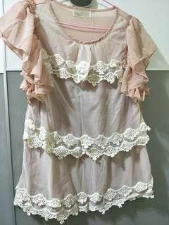 粉色雪紡蕾絲上衣