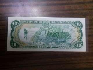 全新直版中美洲多明尼加共和國1990年10披索紙幣