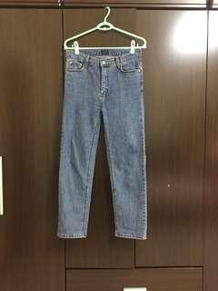 正韓韓製韓標 設計師品牌 靑豆 原色小直筒牛仔褲 有彈性