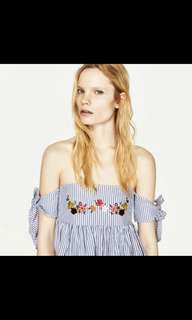 Zara floral embroidered stripe ribbon tie off shoulder top in XS