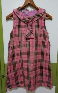冬季 粉紅 蘇格蘭格紋 小領結 背心裙