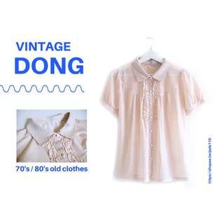   咚 咚 Vintage  日本古著- 浮光粉桃短袖衫