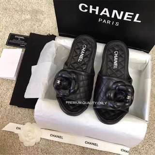 Chanel Camellia Slide/ Sandals 2018- black