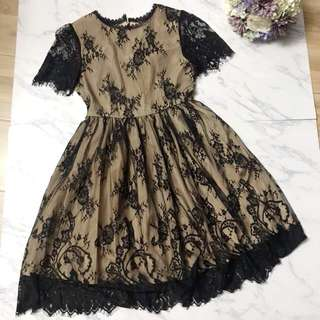 Made in Korea Black Lace One Piece Dress