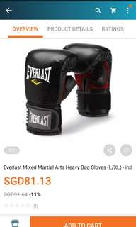 Everlast mix martial art heavy bag gloves ( Small and compact)