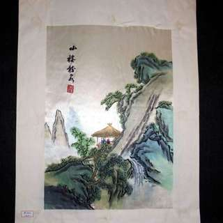 【早期珍藏湘繡精品】山樓(畫芯:30cm × 21cm)