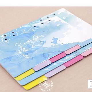 A6 index tabs/Cards/Colourful world