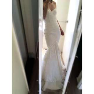 Corset Mermaid Wedding Gown with a Cathedral Train