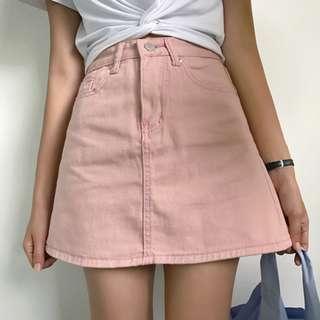 新款 女裝 簡約 純色 高腰 修身 顯瘦 百搭 牛仔 A字半身裙 短裙