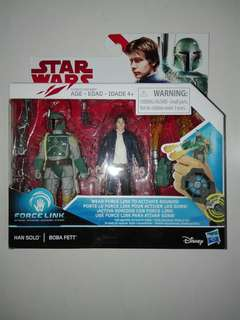 "Star Wars Boba Fett and Han Solo 2-Pack 3.75"" 3 3/4 inch figure Hasbro TRU"