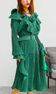 Green Vintage 60's Pleated Belted Dress
