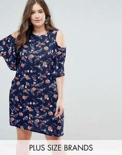 Cold Shoulder Pocketed Plus Size Dress