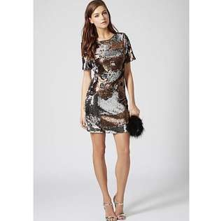 🚚 Topshop Silver Sequin Embellished Bodycon Party Dress