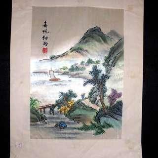 【早期珍藏湘繡精品】春帆細雨(畫芯:30cm × 21cm)
