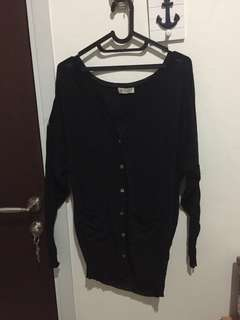 Long Black Outer Knitwear