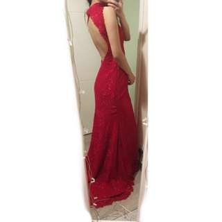 Red Evening Gown with High Neck and Open Back