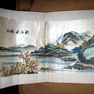 【早期珍藏湘繡精品】秋江垂釣(畫芯:48cm × 21cm)