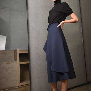 IOZ 法式極簡氣質系帶中長裙 藏青