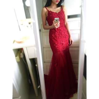 Red Low Back Mermaid Strap Evening Gown 紅色魚尾露背拖尾敬酒裙 晚裝裙