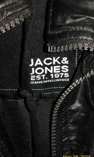 Jack & Jones leather jacket w/ hoodie