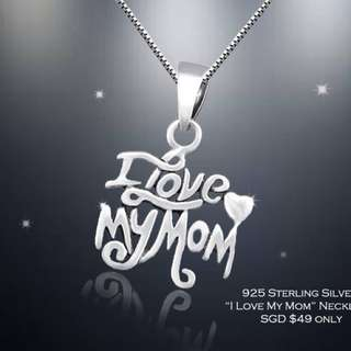 MOTHERSNKLL-070- S925 Silver I Love My Mum Love Necklace